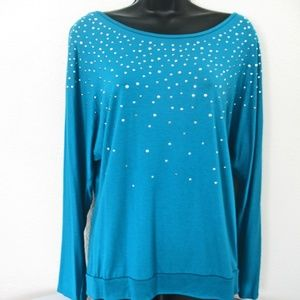 NWT, Women's Simply Styled BlUE/Sequins Shirt